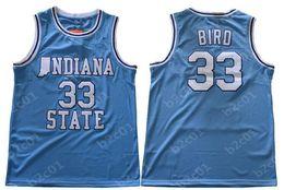 247da4570ee Men s NCAA Indiana State Sycamores  33 Larry Bird Blue Springs Valley High  School Swingman College Basketball Jersey