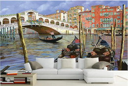 oil painting city bridge Canada - 3d wallpaper custom photo mural Water city architectural oil painting European arch bridge ship home decor murals wallpaper for walls 3 d