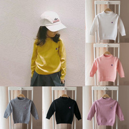 Wholesale baby black yellow shirts for sale – custom Winter Baby Sweater Knitted Letter Jumper Sleeve Long Autumn Boys Girls Sweater Children s Shirt Clothes Yellow Black HHA517