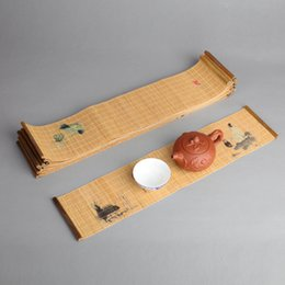 Bamboo Tea Runner Chinese Japanese Zen Bamboo Weave Tea Mats Table Runners Curtains Tea Ceremony Accessories on Sale