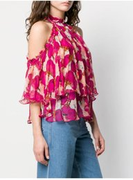 Wholesale Women chiffon shirt new flower print persepctive handing neck sleeveless sexy chiffon blouse
