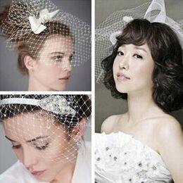 $enCountryForm.capitalKeyWord Australia - New Arrival White Wedding Dress Bridal Headwear Diy Net Yarn Veil With Pearl Diamond Wedding Hair Accessories