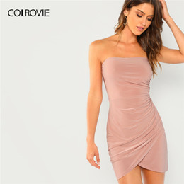 3130a2985d78 COLROVIE Pink Strapless Ruched Bandeau Wrap Bodycon Tube Sexy Mini Dress  Women 2019 Summer Red Asymmetrical Club Party Dresses