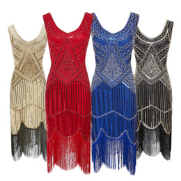 China Women Party Dress 1920 s Great Gatsby Flapper Vestidos Sequin Bead Fringe Dress Evening V Neck Embellished Fringed Sleeveless suppliers