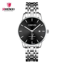 $enCountryForm.capitalKeyWord Australia - Chenxi brand couple watches men's casual steel belt ultra-thin waterproof quartz Korean students female multi-color calendar