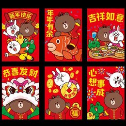 Wholesale 6 Hot Sale Paper Festive Red Envelopes Cute Lovely Cartoon Hello Kitty Brown Bear Fortune Cat Money Gifts Wedding Stationery