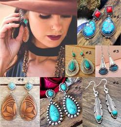 $enCountryForm.capitalKeyWord Australia - Vintage Turquoise Earrings Pendant National Style Bohemian Ethnic Handmade Fashion Crowded High-end Earrings Female Charm Earrings