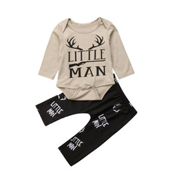 Discount man baby romper - Newborn Kids Baby Boy Little Man Romper Long Pants Outfits Gray Playsuit Clothes