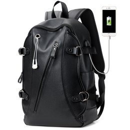 Discount male laptop bags - 16 Inch Laptop Backpack PU Leather Buiness Backpacks for Men Casual School Bag Male Large Capacity Double Shoulder Bags