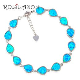 Discount blue opal jewelry sets - Generous Wholesale & Retail For Women Jewelry Blue Rainbow Opal Stamped sterling Silver Bracelet OB054