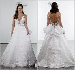 Pnina Lace Dress Australia - 2019 Pnina Tornai Plus Size Wedding Dresses V Neck Backless Lace Beach Bridal Gowns Sweep Train Beach Wedding Dress Cheap