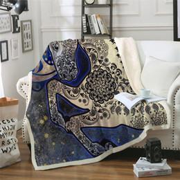 Beds Quilts Australia - Paisley Unicorn Blanket on Bed Blue Galaxy Plush Throw Blanket Boho Horse Thin Quilt Mandala Flower Bedding