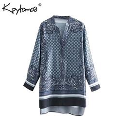 689f348c1427f1 Vintage Paisley Print Patchwork Lange Tops Frauen Blusen 2019 Mode  V-ausschnitt Langarm Asymmetrische Hemden Beiläufige Blusas Mujer