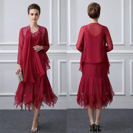 Mother Asymmetrical Dress NZ - Elegant Burgundy Lace Appliqued Mother Of The Bride Dresses Chiffon Mermaid Weddings Guest Dress Tea Length Formal Evening Prom Gowns