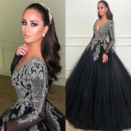 Wholesale black fashion tops images for sale – custom Sexy Ball Gown Long Sleeves Evening Dresses Black V Neck Classical Appliques Beads Top Prom Quinceanera Dresses Formal Party Pageant Dresses