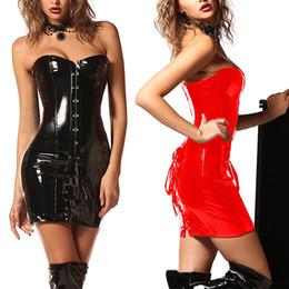 e6f51b4b4f902 PU Leather Corset Gothic Dress Women Shiny PVC Leather Boned Bustier Top  Clubwear Corselet Black Red Sexy Long