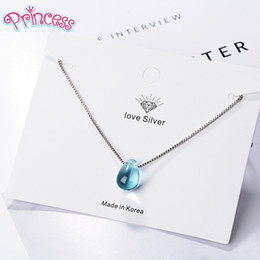 $enCountryForm.capitalKeyWord Australia - Prinsis Literary Artificial Blue Crystal Water Drop Necklace 925 Sterling Silver Clavicle Short Chain Necklace For Women Girl