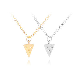 Food Pendant Australia - 30 new Geometric Triangle Pizza Cake Necklace lucky Good Friends Ape Necklace Cheese Food Necklace Clavicle Chain Pendant Jewelry
