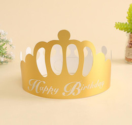 $enCountryForm.capitalKeyWord NZ - Festive Party Hats Birthday Party Supplies New Design Paper Golden Crown Disposable Cap ePacket Free Shipping