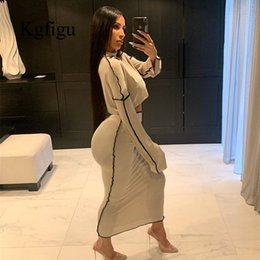 Wholesale gray skirt suits women for sale - Group buy 2 Piece Set Suits Gray casual loose oversize Two Piece Set Fall Party Women Sets Long sleeve Top and maxi Skirts