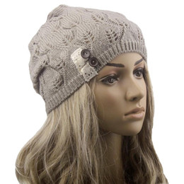 $enCountryForm.capitalKeyWord UK - Leaves Hollow Out Knitting Hat women's winter warm solid hollow out wool outdoor running hiking sports caps hats