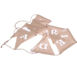$enCountryForm.capitalKeyWord NZ - JUST MARRIED Burlap Bunting Banner Wedding Party Decorations Photo Booth Props - Vintage Flag for Wedding Accessory