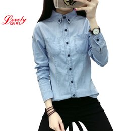 $enCountryForm.capitalKeyWord Australia - Jean Shirt Woman Long Sleeve Shirts For Women Tops And Blouses 2018 Lady Casual Women's Clothing Blusa Camisa Jeans Feminina J190614