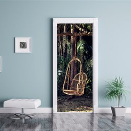 $enCountryForm.capitalKeyWord Australia - Creative DIY 3D Effect Door Stickers Forest Wicker Chair Pattern Bedroom Art Vinyl Decal Waterproof Removable Decorative Home Decor