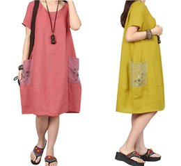 plus size linen clothing Canada - Cotton Linen Series# New Summer Dress Plus Size Women's Clothing Solid Color Slim Dress Women Short Sleeve Loose Casual Dresses Female 1109