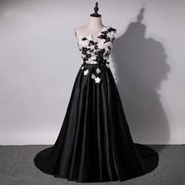 Fashion Short Black Dresses Australia - 2019 New Design Black Evening Dress One Shoulder 3D Flowers Satin Runway Fashion Long Dresses Formal Dresses Graduation Dresses