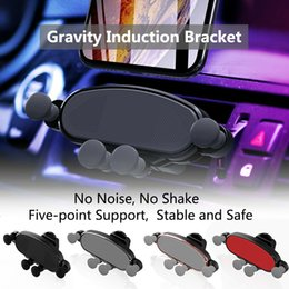 abs car phone holder Australia - Vent Gravity Car Bracket Air Outlet ABS Plastic Gravity Invisible Phone Bracket Black Silver Universal Car Holder
