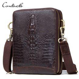 $enCountryForm.capitalKeyWord Australia - Top Quality Men Messenger Shoulder Bag Genuine Leather Vintage Men's Crocodile Crossbody Bag With Card Holder Mobile Phone Pouch Y190701
