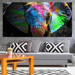 elephant canvas oil paintings abstract Australia - Colorful African Elephant Animal Painting Oil Painting On Canvas Wall Art Pictures For Living Room Bedroom 191005