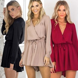$enCountryForm.capitalKeyWord Australia - Jumpsuit Summer Women Rompers Sexy Bodysuit V-neck Playsuit Long Sleeve Catsuit Chiffon Playsuit Ladies Jumpsuit drop shipping