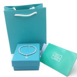 Mujeres Pulseras de Lujo de Plata de Ley 925 Esmalte Azul Corazón Colgante Pulsera de Buda Adorno de Mujer Joyería de Boda Bolsa de regalo cajas en venta