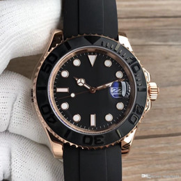 Wholesale 2018 rubber rose gold high end brand watch yacht MASTER mm automatic movement mechanical male stainless steel watch