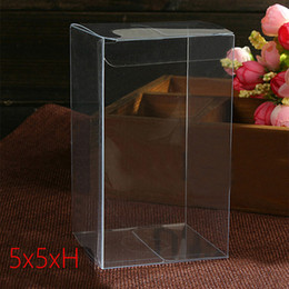 clear plastic display boxes wholesale NZ - 50pcs 5x5xH Plastic Box Storage PVC Box Clear Transparent Boxes For Gift Boxes Wedding Tool Food Jewelry Packaging Display DIY