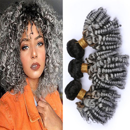 Discount gray black hair extensions Black to Gray Ombre Funmi Curly Virgin Hair Bundles Deals 1B Grey Ombre Bouncy Romance Curls Human Hair Weave Wefts Exte