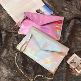 shining leather bags NZ - Newest Fashion Hologram Envelope Clutch Wristle Leather Envelope Purse Hand Bag Shining PINK Silver Laser Evening Messenger Bags