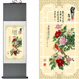 chinese flower decorations Canada - Top Quality Birds And Peony Flower Painting Home Office Decoration Chinese Scroll Painting Peony Flower Painting
