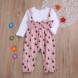 $enCountryForm.capitalKeyWord Australia - Baby Girl Cute Long Sleeve Casual Fashion T-Shirt And Printing Suspender Trousers Kids Two-piece Outfit Set