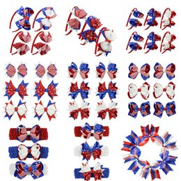 Headbands Bow Australia - Newest Designer kids girl hair bows barrettes US Flag Hairpins Clippers Girls Hair Clips USA Flag Headbands JOJO SIWA Hair Accessories