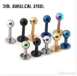 Lip Piercing Wholesale NZ - 4 6 8 10mm Labret Lip Chin Ring Ear Bar Stud Stainless Steel Piercing Fashion Body Jewelry Free Shipping