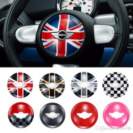 wheel trimmer UK - Union Jack Car Steering Wheel Panel Center Cover Sticker Moulding Trim Sticker for Mini Cooper R55 R56 R60 R61 Styling Accessories