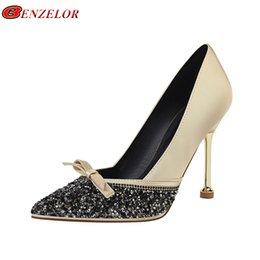 0664bddfd Dress Benzelor 2019 Spring Summer Sequined Bling Pointed Toe Shoes Women  Pumps Woman Super High Heels Female Ladies Sexy Party Office