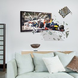 Cars Wall Stickers Wallpaper Australia - Racing car breaks through the frame and comes out of 3D effect bedroom living room simulation background decorative wallpaper