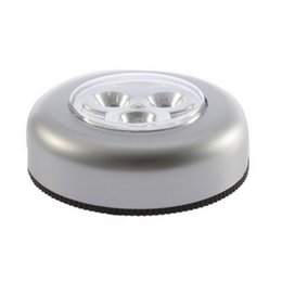 $enCountryForm.capitalKeyWord Australia - 3 Led Touch Control Night Light Round Lamp Under Cabinet Closet Push Stick On Lamp Home Kitchen Bedroom Automobile Use