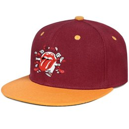 Flat Rolled UK - The Rolling Stones 50th burgundy mens and women hip-hop baseball cap design fitted golf sports fashion baseball cute unique classic flat br