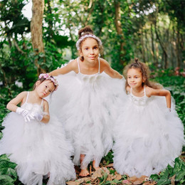 flowers girls frock Canada - Wedding Flower Girls Dresses Frock Soft Tulle Ruffles Dress Feathers and Handmade Flower Girl Special Occasion Dresses