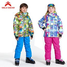 Winter Snow Suits Australia - 2018 WILD SNOW boys girls ski suit waterproof windproof snow pants+jacket a Set of Winter Sports Child Thickened Clothes,T-7